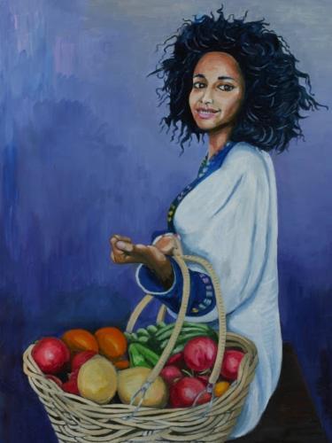 Ragazza etiope con cesto di frutta