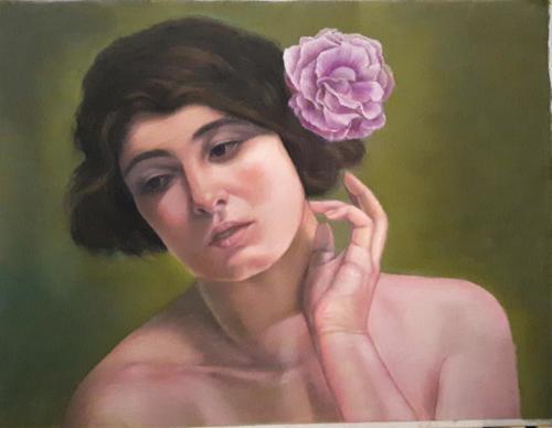 Dama con rosa